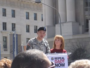Lt. Dan Choi and Kathy Griffin at DADT Rally